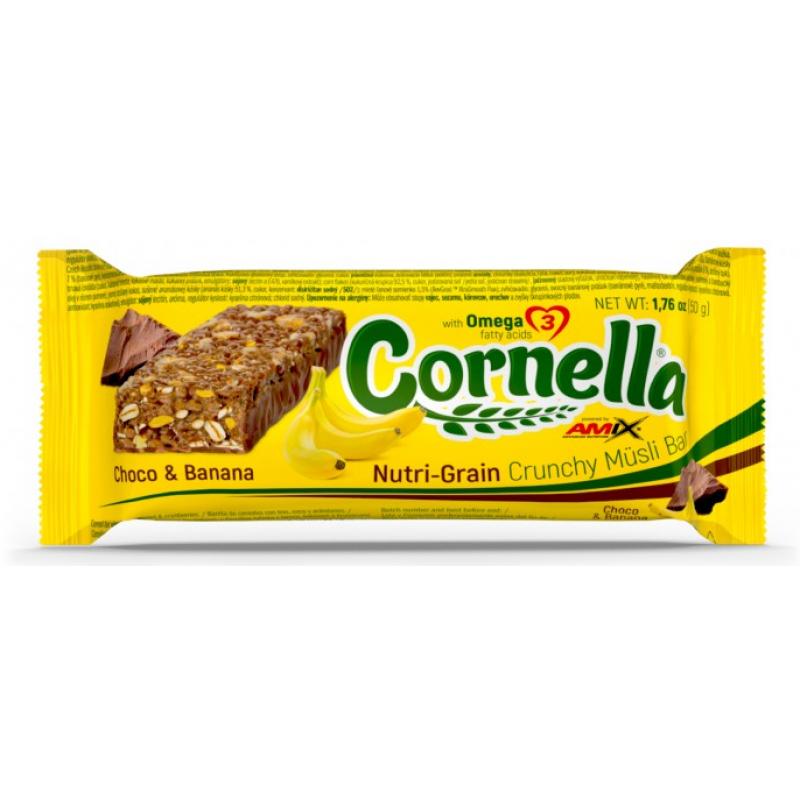 Amix Nutrition Cornella® krõmpsuv müslibatoon 50 g šokolaadi ja banaani