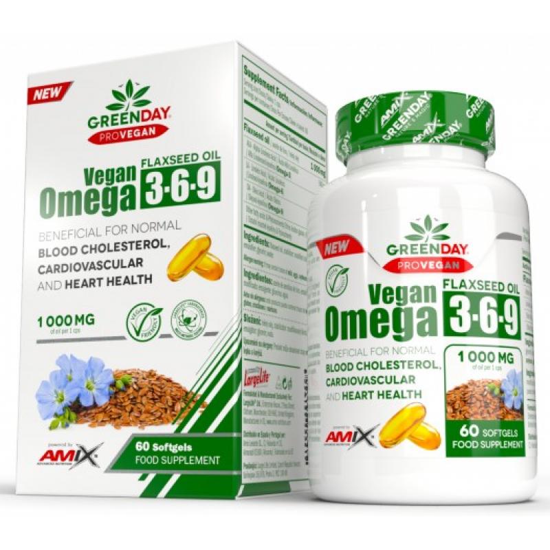 Amix Nutrition GreenDay® ProVEGAN Omega 3-6-9 linaseemned 1000 mg 60 geelkapslit
