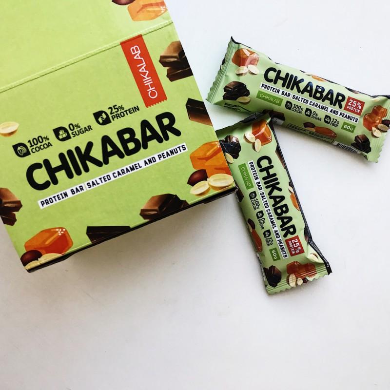 Chikabar 60g soolane karamell ja maapähkel Proteiinibatoonid foto