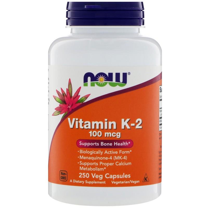 NOW K2-vitamiin 100 mcg 250 kapslit