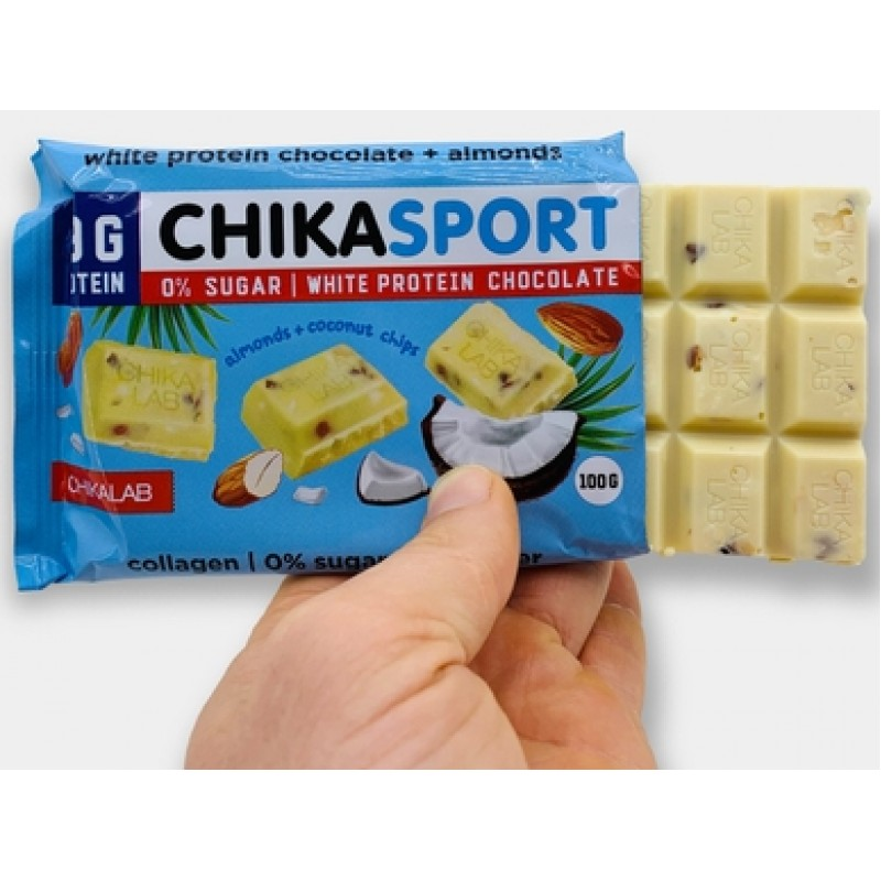 Bombbar Chika Sport valge šokolaad mandlitega ja kookoslaastudega 100 g foto