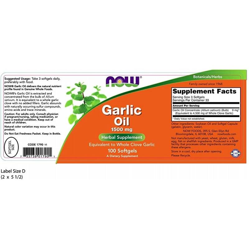 Garlic Oil 1500 mg 100 Caps Küüslauk foto