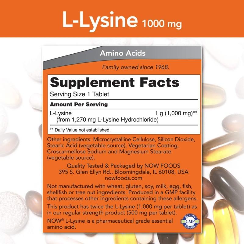 NOW L-lüsiin 1000 mg 100 tabletti foto