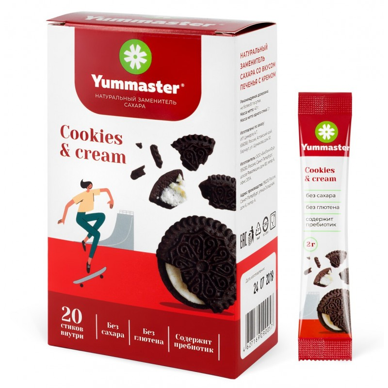 Yummaster Naturaalne suhkruasendaja -Cookies & Cream- 20 Paks
