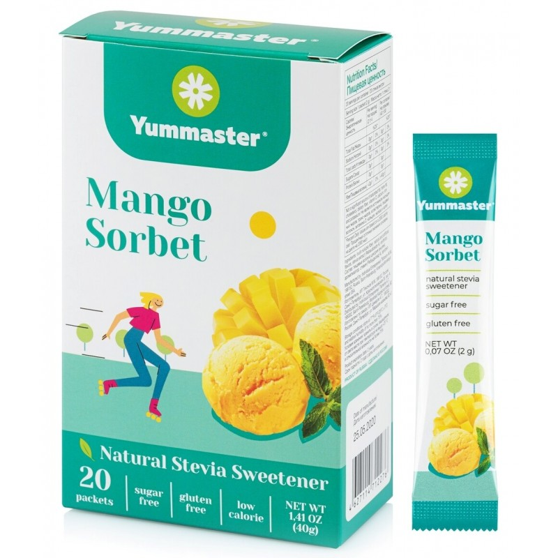 Yummaster Naturaalne suhkruasendaja -Mango Sorbet- 20 Paks