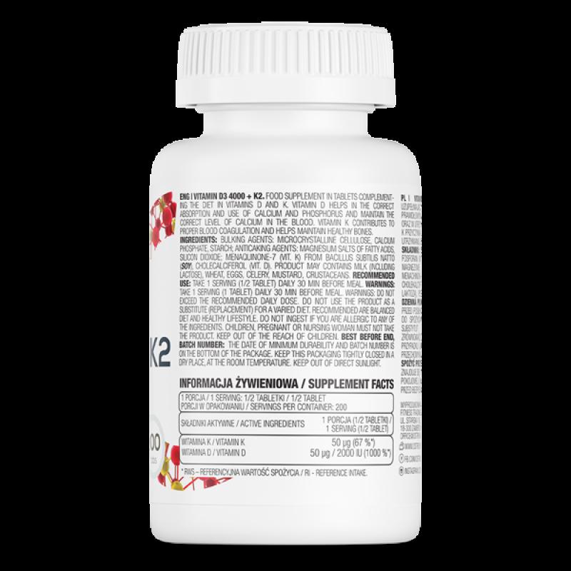 Vitamin D3 4000 + K2 100 tabs D Vitamiin foto