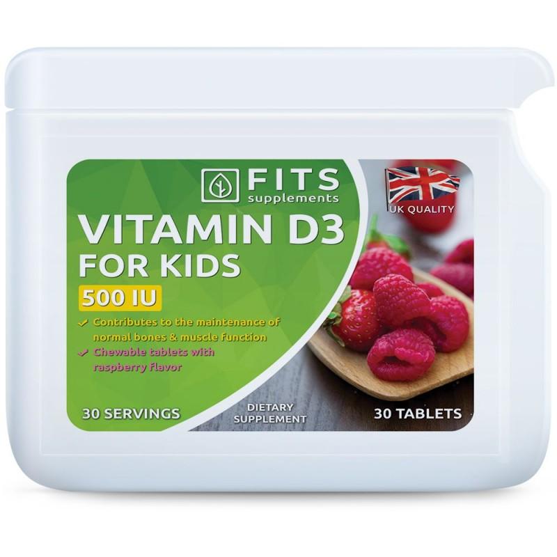 FITS D3-Vitamiin 10 mcg närimisvitamiinid lastele vaarika maitsega
