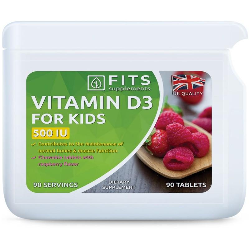 FITS D3-Vitamiin 10 mcg närimisvitamiinid lastele vaarika maitsega N90