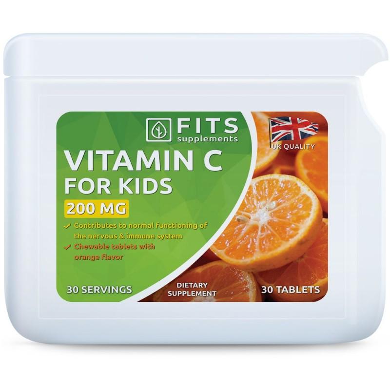 FITS C-Vitamiin 200 mg lastele apelsini maitsega