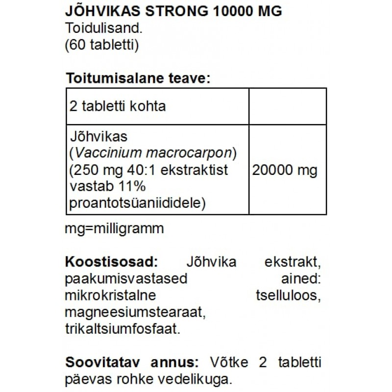 FITS Jõhvikas Strong 10000 mg tabletid foto