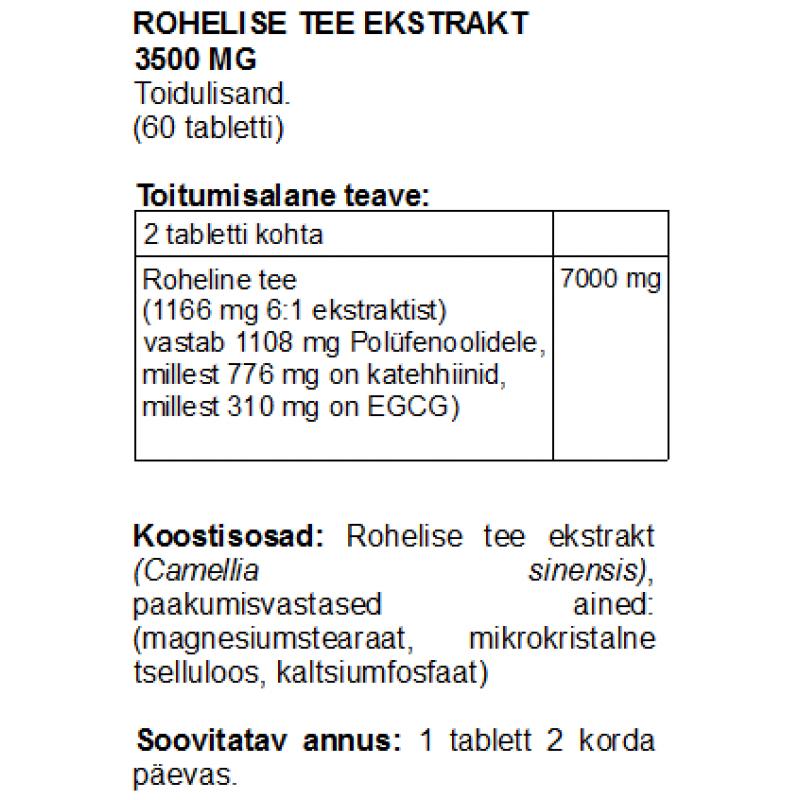 Rohelise tee ekstrakt 3500 mg tabletid Rohelise tee ekstrakt foto