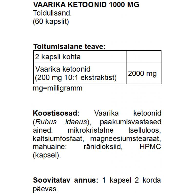 Vaarika ketoonid 1000 mg kapslid Vaarika ketoonid foto