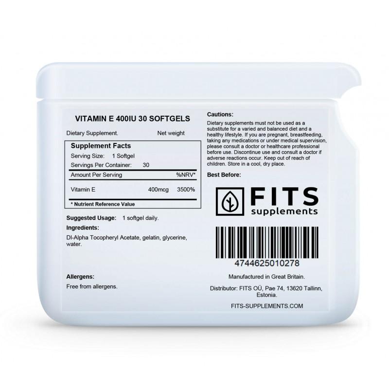 FITS E-Vitamiin 400 iu kapslid foto