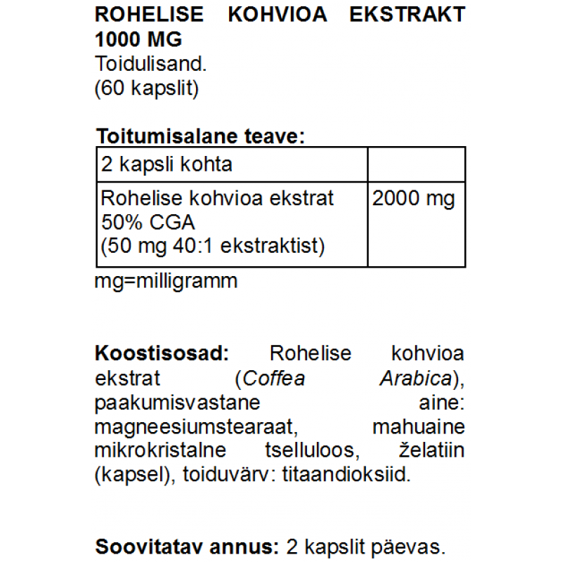 FITS Rohelise kohvioa ekstrakt 1000 mg kapslid foto