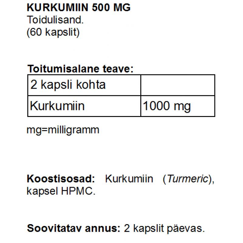 Kurkumiin 500 mg kapslid Kurkumiin foto