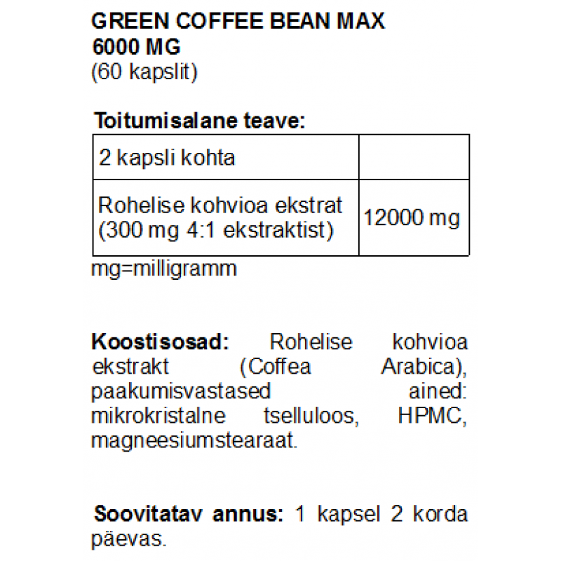 Green Coffee Bean MAX 6000 mg kapslid Ravimtaimed foto