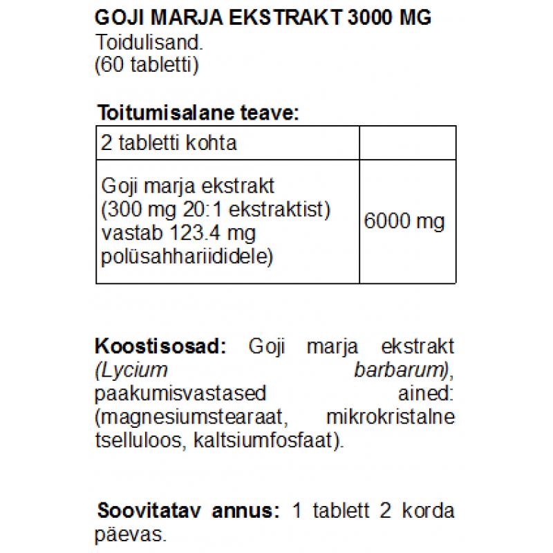 Goji marja ekstrakt 3000 mg tabletid Goji marjad foto