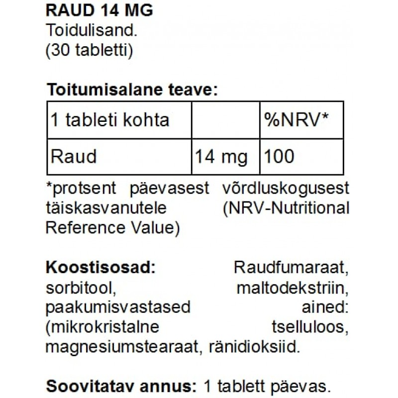 Raud 14 mg tabletid Raud foto