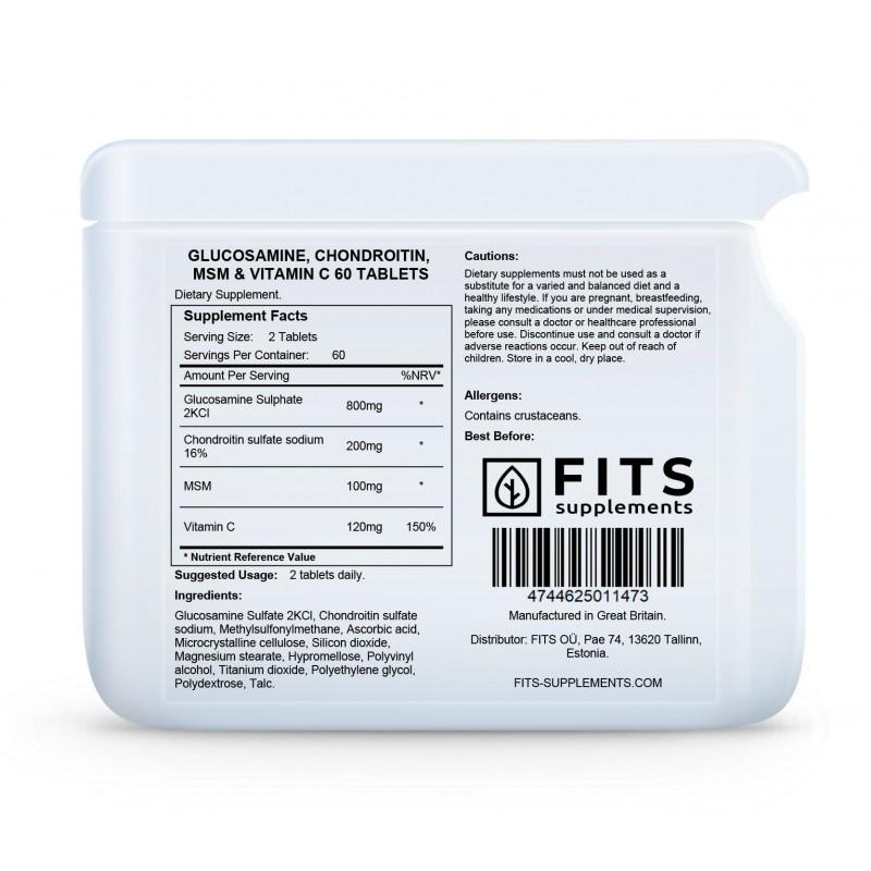 FITS Glükoosamiin, Kondroitiin ja MSM tabletid foto