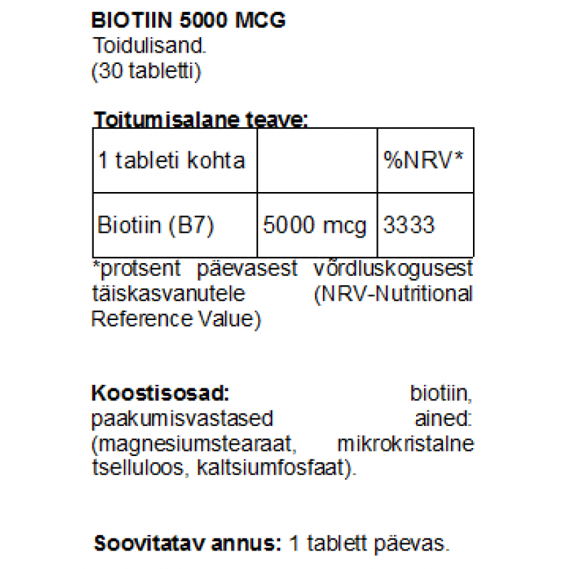 Biotiin 5000 mcg tabletid B7 Biotiin foto