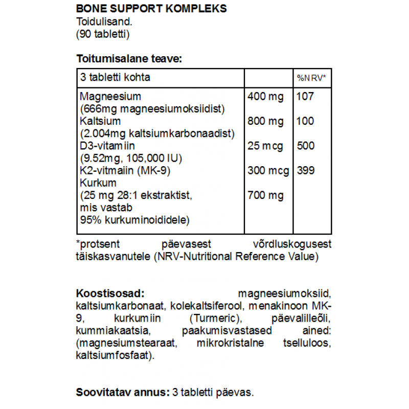 FITS Bone Support kompleks tabletid foto