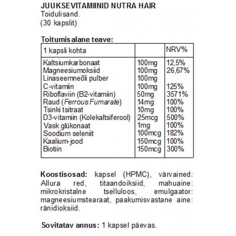 Juuksevitamiinid Nutra Hair kapslid Vitamiinid naistele foto