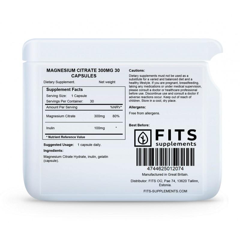 FITS Magneesium tsitraat 300 mg kapslid foto