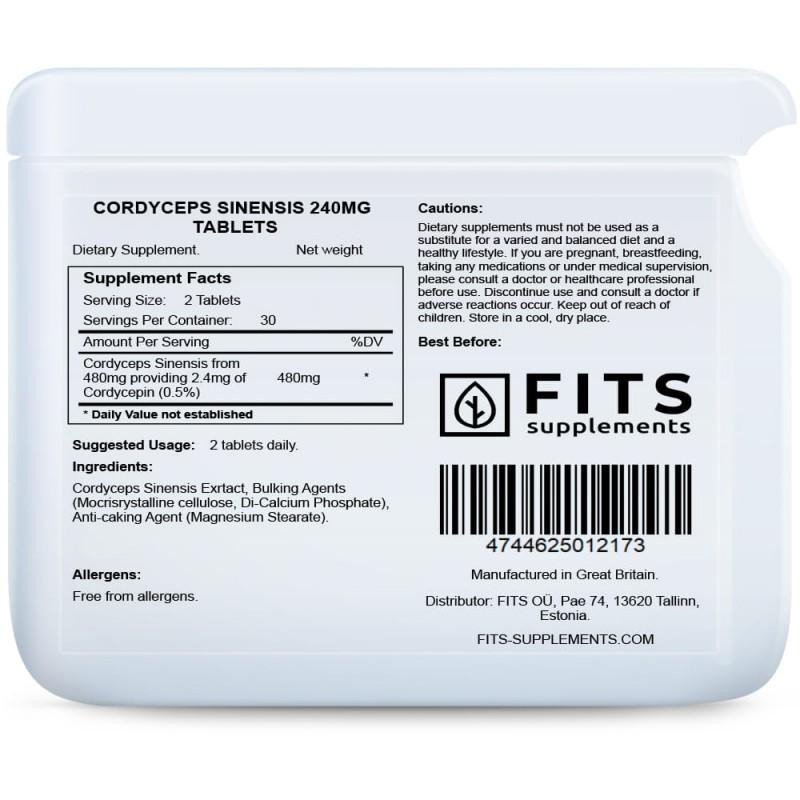 Cordyceps Sinensis 240 mg tabletid Korditseps foto
