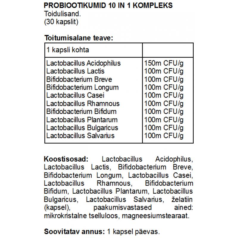 FITS Probiootikumid 10 in 1 kompleks kapslid foto