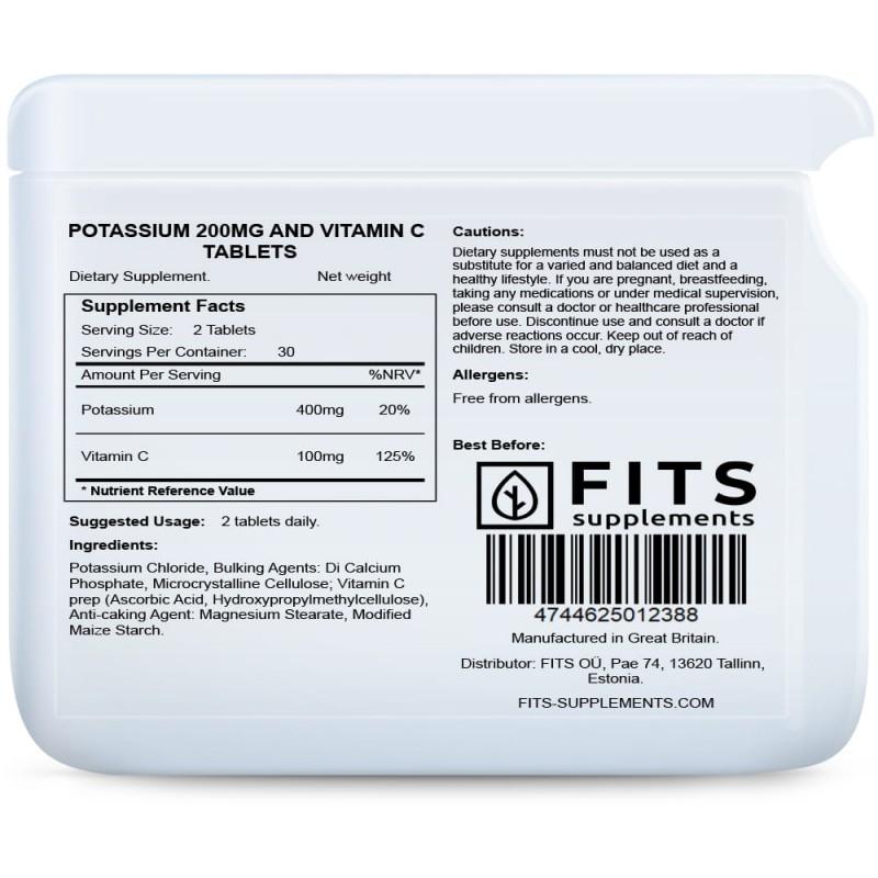 FITS Kaalium 200 mg + C-Vitamiin tabletid foto