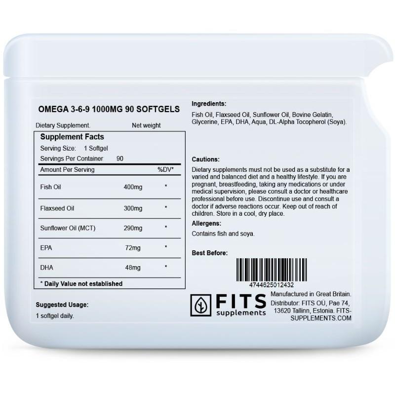 FITS Omega 3-6-9 õli 1000 mg kapslid N90 foto