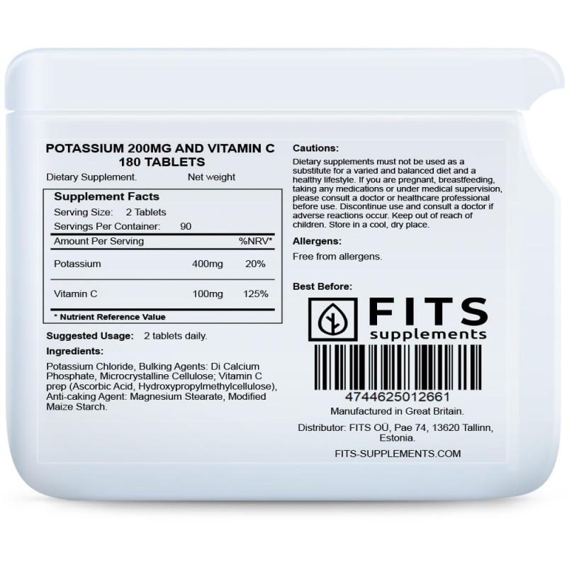 Kaalium 200 mg  + C-Vitamiin tabletid N180 C Vitamiin foto
