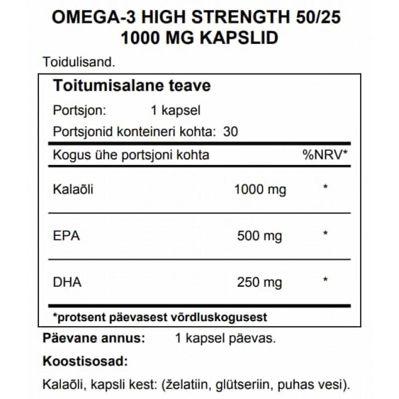 FITS Omega-3 High Strength 50/25 1000 mg kapslid foto