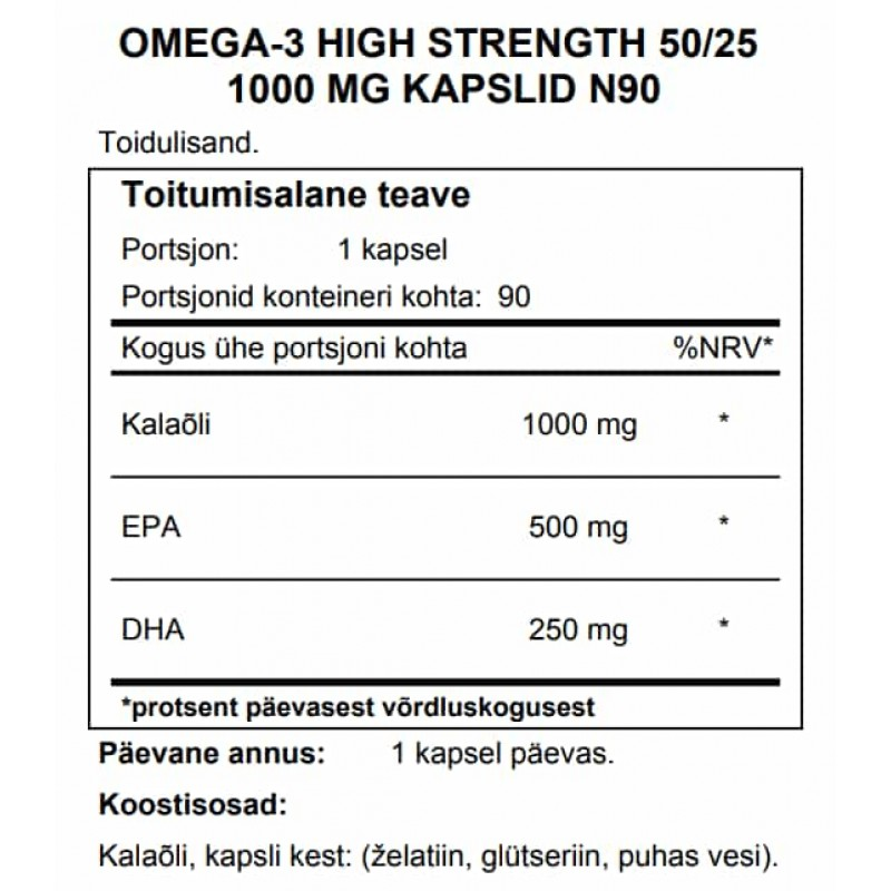 FITS Omega-3 High Strength 50/25 1000 mg kapslid N90 foto