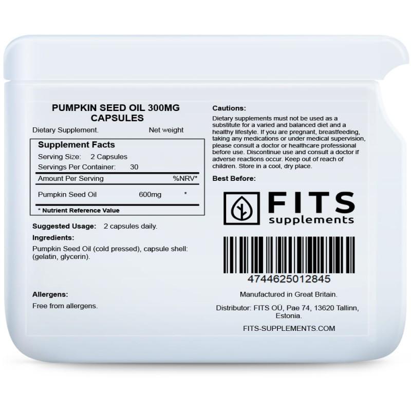 FITS Kõrvitsaseemneõli 300 mg kapslid foto