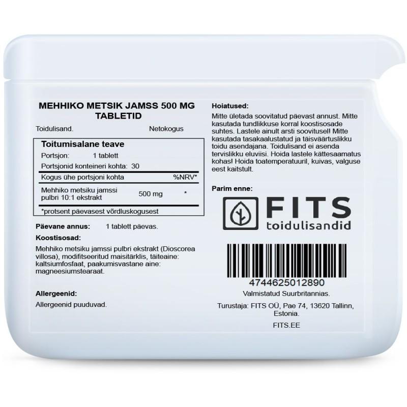 FITS Mexican Wild Yam (Mehhiko metsik jamss) 500 mg tabletid foto