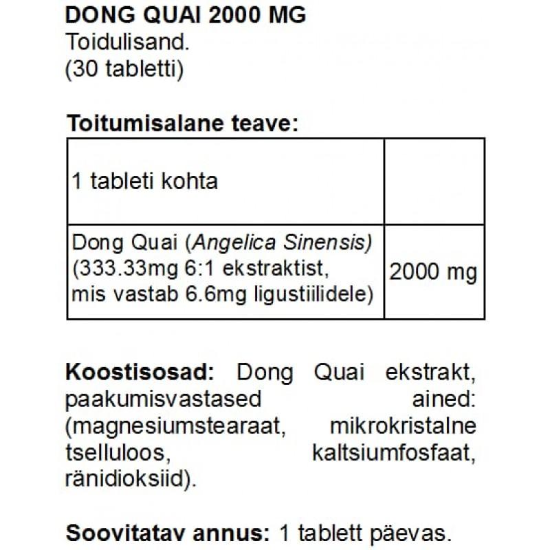 FITS Dong Quai 2000 mg tabletid NB! Parim enne 01.09.20! foto