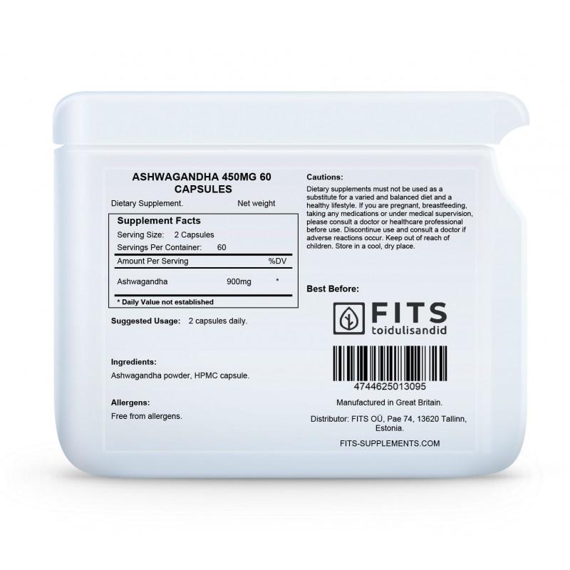 FITS Ashwagandha 450 mg kapslid foto