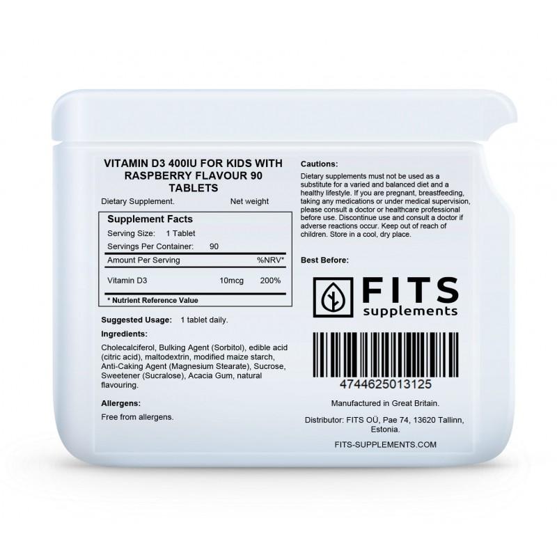 FITS D3-Vitamiin 10 mcg närimisvitamiinid lastele vaarika maitsega N90 foto