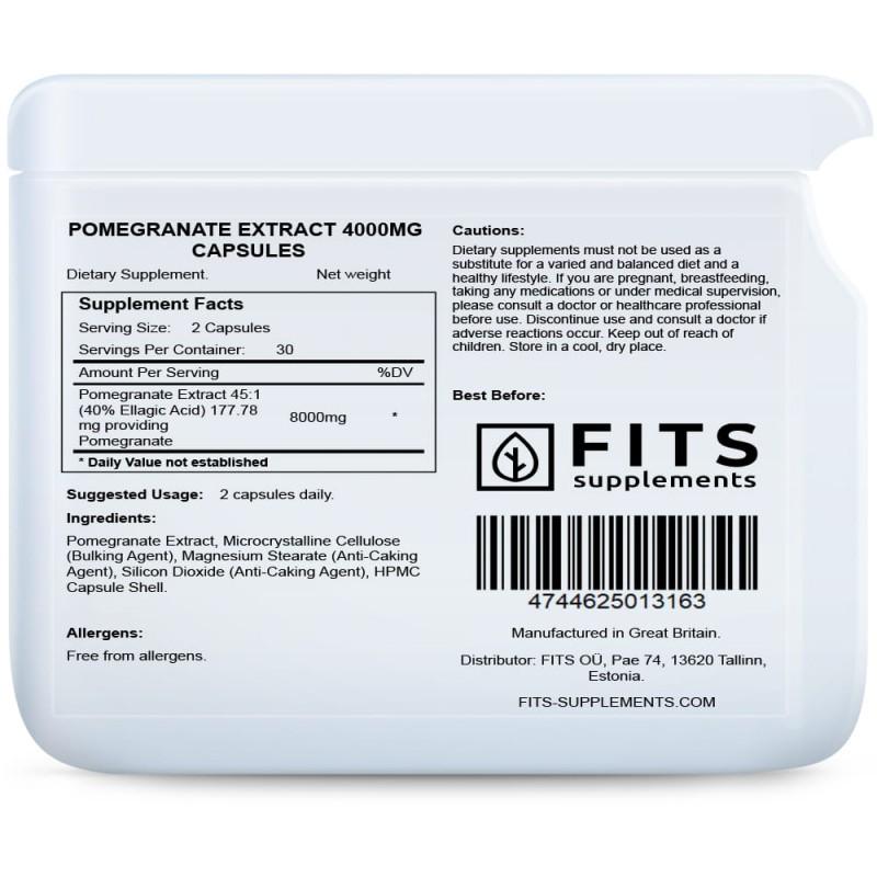 Granaatõuna ekstrakt 4000 mg kapslid Ravimtaimed ja ekstraktid foto