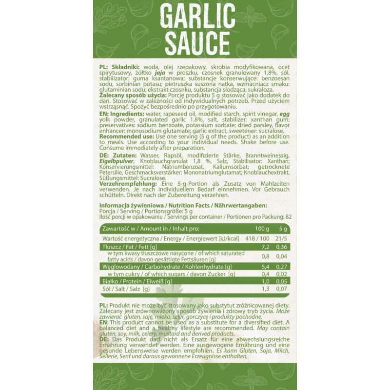 SAUCE GARLIC 410 g Soolased kastmed foto